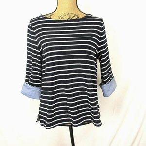 Nautica (XL) Cute Navy & White Striped Knit Top